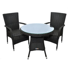 PRE-ORDER NIDDRIE - 3 Piece Outdoor Wicker Round Table and Stacking Armchair Set - Furniture Star Direct