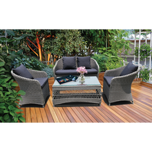 PRE-ORDER PRESTON - Lovely 4 Seater Balcony Patio Wicker Lounge Set - Furniture Star Direct