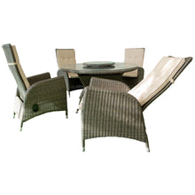 PRE-ORDER HAWTHORN - 5 Piece Outdoor Wicker Recliner Chair Dining Set - Furniture Star Direct