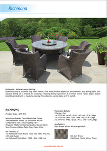 PRE-ORDER RICHMOND - 7 Piece Outdoor Wicker Round Dining Set with Lazy Susan - Furniture Star Direct