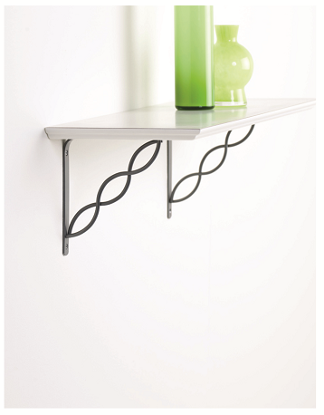 2x SCROLL 145 - Wall Mounted Shelf Brackets with hardware