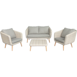 Vermont 4 Seater Outdoor Timber Wicker Lounge Set - DECOR STAR