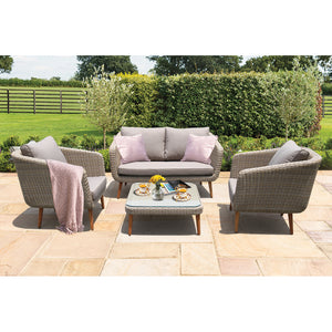 VERMONT - Glamorous 4 Seater Outdoor Timber Wicker Lounge Set