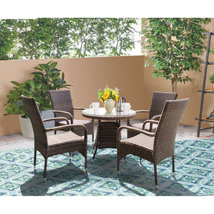 DONVALE - 5 Piece Balcony Patio Round Table and Stacking Chair