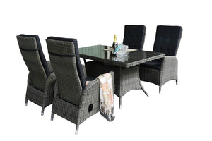 NEW ARRIVAL: ANGELSEA - 5 Piece Outdoor Wicker Recliner Chair Rectangle Dining Set - Furniture Star Direct