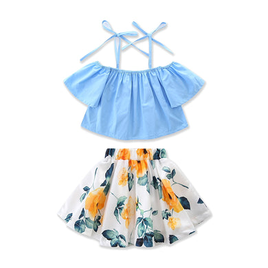 Gorgeous off the shoulder blue top and floral skirt set.
