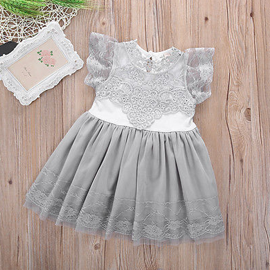 Grey stunning lace party dress