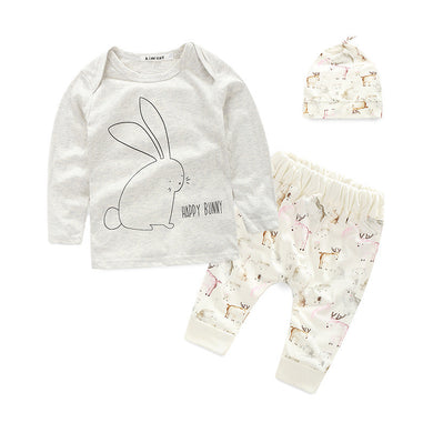 Adorable long sleeve shirt with happy bunny design print with cute matching animal print pants and hat