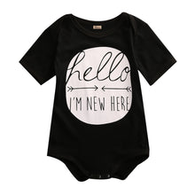 black Hello I am new here! Gorgeous onesie/romper for baby boys or girls.