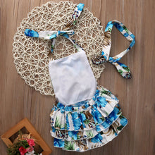 Gorgeous blue summer floral romper with matching headband