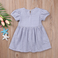 Blue striped bow summer dress