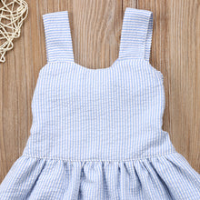 Gorgeous blue striped sundress with a decorative lace trim.