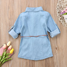 Denim shirt style mini dress with belt.