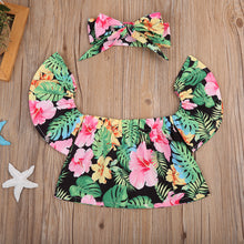 Girls off the shoulder, short sleeve floral top with matching headband