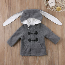 Adorable hooded Autumn coat with bunny ears.
