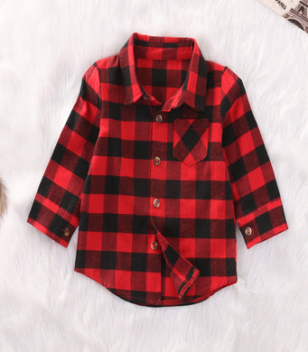 Plaid unisex long sleeve collard shirt
