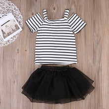 Girls striped off the shoulder t-shirt with black tutu skirt