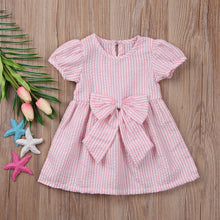 Pink striped bow summer dress