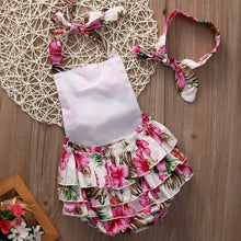 Gorgeous pink summer floral romper with matching headband
