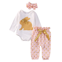 Gorgeous 3PC outfits comes with long sleeve gold bunny romper, pink pants with gold polka dots and decorative gold ribbon tie and matching headband