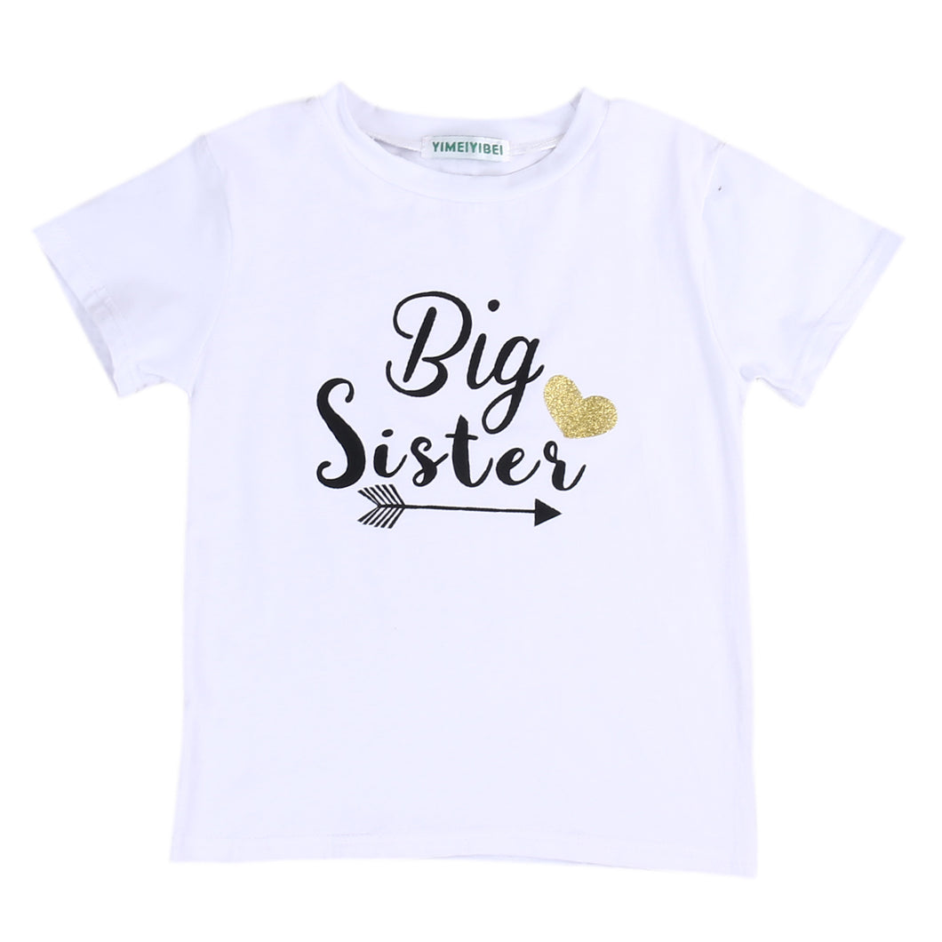 Big Sister printed white short sleeve t-shirt.
