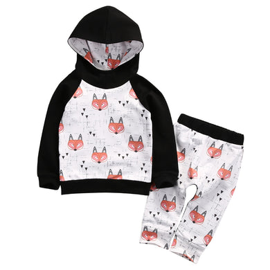 Fun matching fox print hooded sweater and pant set for boys and girls