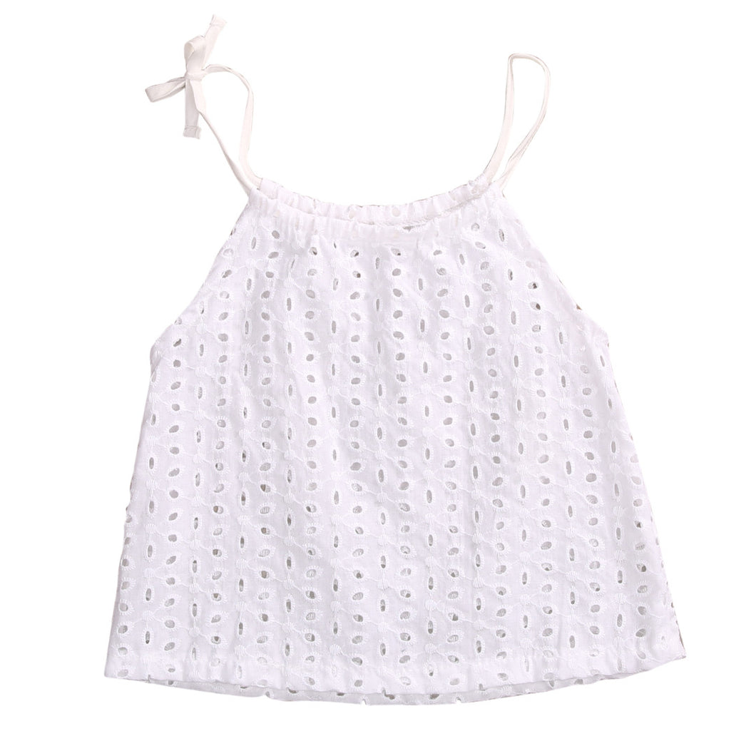 Cute girls white lace sleeveless top