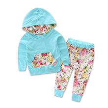 Spring/Autumn cute sky blue floral long sleeve hoodie with matching pants