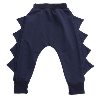 Navy blue super adorable 3D dinosaur harem pants.