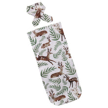 reindeer Soft easy to swaddle infant blanket wrap with matching headband.
