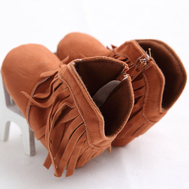 brown Soft Moccasin Tassel Shoes