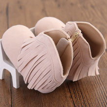 beige Soft Moccasin Tassel Shoes
