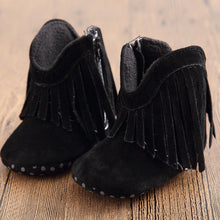 black Soft Moccasin Tassel Shoes