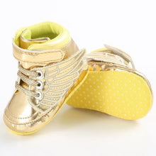 yellow Super trendy patent leather bling hightop shoes.