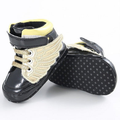 black Super trendy patent leather bling hightop shoes.