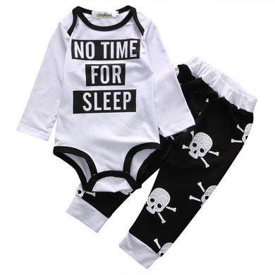 Long Sleeve Printed Romper & Skull Print Pants