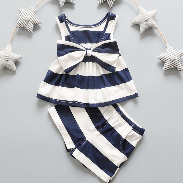 Navy blue striped Bow Top and Shorts Set