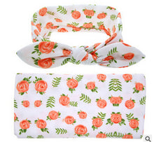 rose Soft easy to swaddle infant blanket wrap with matching bowknot headband.