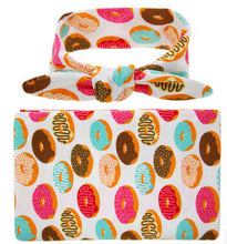 donut Soft easy to swaddle infant blanket wrap with matching bowknot headband.