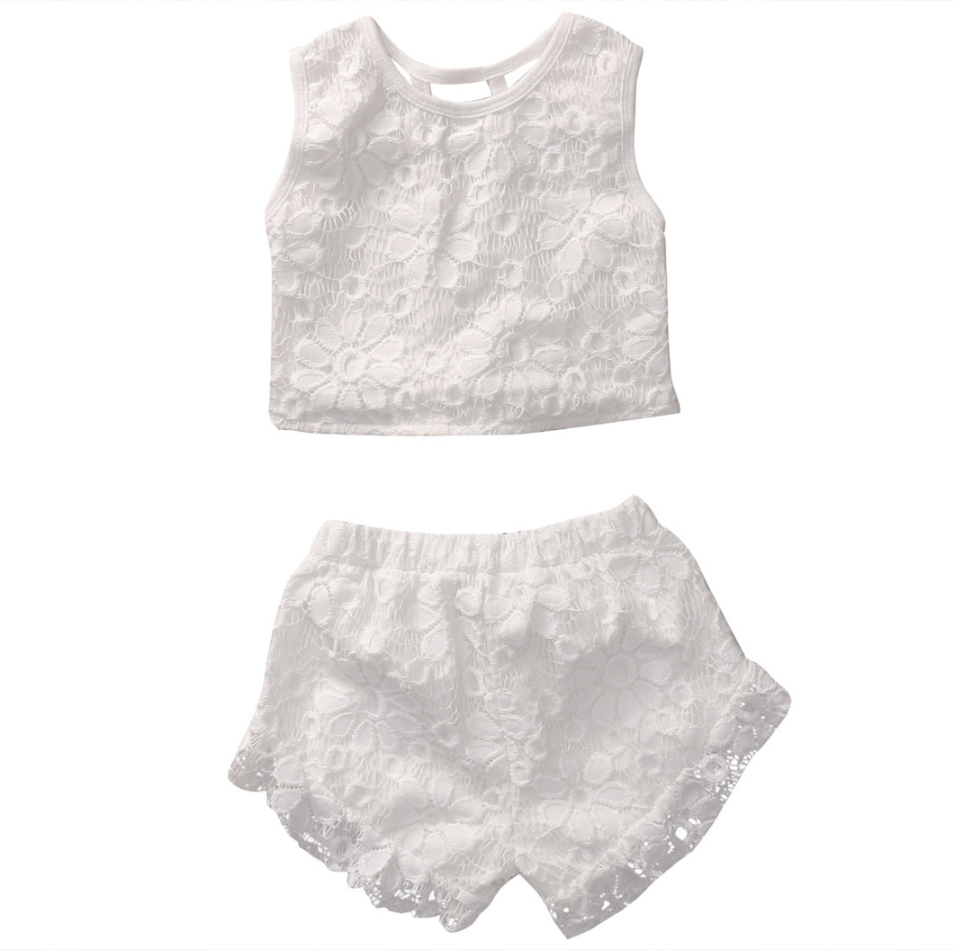 Cute girls white lace sleeveless crop top and matching shorts 2 piece set