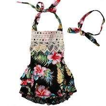 Gorgeous black summer floral romper with matching headband