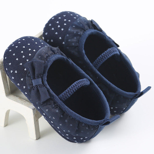 blue All season gorgeous baby girl pre-walker soft shoes with beautiful bow and elastic band closure.