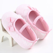 pink All season gorgeous baby girl pre-walker soft shoes with beautiful bow and elastic band closure.