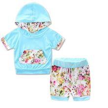 Cute blue 2PC short sleeve hooded top with adorable matching floral shorts
