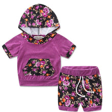 Cute purple 2PC short sleeve hooded top with adorable matching floral shorts