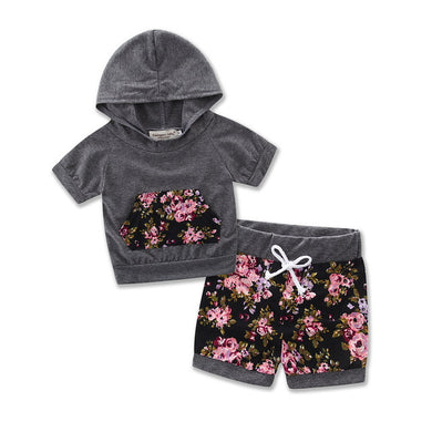 Cute grey 2PC short sleeve hooded top with adorable matching floral shorts