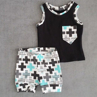 Trendy 2PC Toddler Boy Set with funky feature pocket and matching shorts.