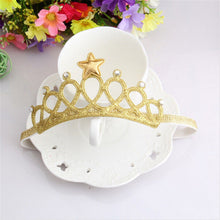 Gold Crown your little Princess with this stunning rhinestone party crown.