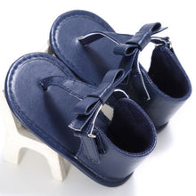 blue Gorgeous baby girl summer flip-flop sandals with cute bow and hemp material.