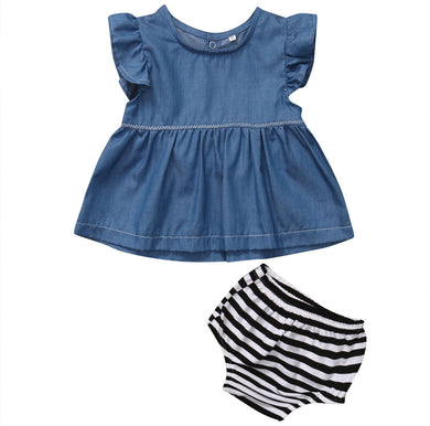 Girls 2 peice set includes cute denim shirt with striped bloomer bottoms